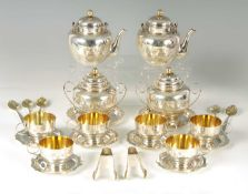 A CONTINENTAL JAPANESE STYLE SILVER AND GILT TEA SERVICE