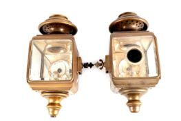 A PAIR OF EARLY 20TH CENTURY ITALIAN CAR LAMPS