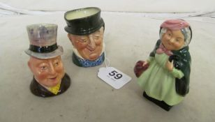 A Royal Doulton Sairy Gamp figure, small Mr Micawber character jug and a Mr Pickwick salt cellar