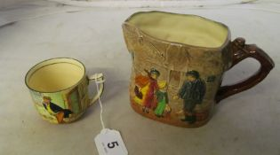 A Royal Doulton David Copperfield jug 'Peggotty' No 859004 and a Mr Pickwick Cup