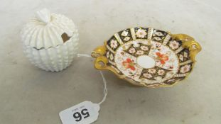 A Royal Crown Derby Imari two handled dish and a Spode condiment pot