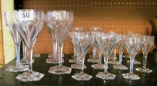 A part suite of drinking glasses on hexagonal base (s/a/f)