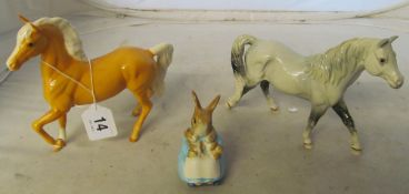 A Royal Doulton horse Welsh pony, another Palomino and a Beswick Mrs Rabbit and Bunnies