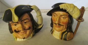 Four Royal Doulton character mugs:- Bacchus, Capt Henry Morgan, Athos and Porthos ( cracked )