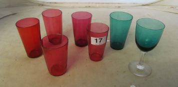 A small group of coloured drinking glasses