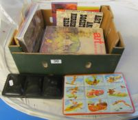Two vintage painted boxes c 1927 and 1957 and some art books