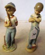 A Lladro figure boy with baseball bat and another with hammer, toy lorry and dice