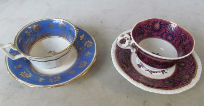 Four 19th Century decorative cups and saucers