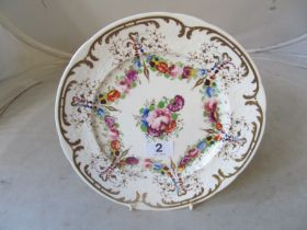 A late 18th/early 19th Century Worcester hand painted floral plate with gilt detail Worcester