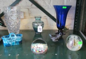 A Caithness paperweight, millefiori paperweight and other glass