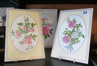 Three Royal Worcester plaques Rose Collection