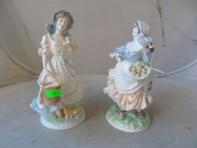 Two Royal Worcester figures Country Ways Series Milkmaid and Rosie Picking Apples
