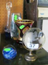 Various glass ornaments including a miniature globe