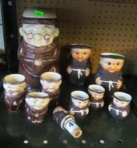 Five Goebel Monk mugs (one hairline crack), bottle stopper, four Weiss monks and two multi eggcup