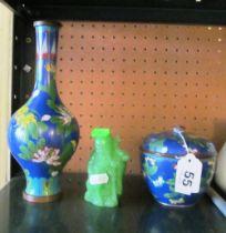 A cloisonné vase, lidded bowl and jade style figure