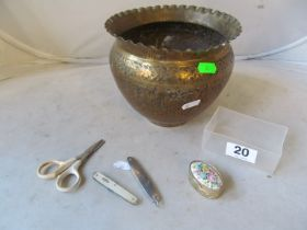 A brass jardinière embossed animals, mother of pearl penknife and another, pair scissors and a