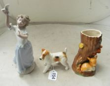 A Hornsea Fawn, Nao girl with dove and a Beswick dog
