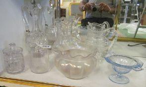 Three glass jugs, Loetz style bowl, claret jug (a/f) et cetera