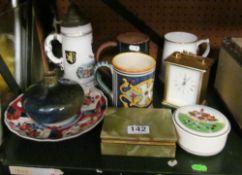 Four tankards, Imari plate, onyx box, clock and vase