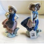 Two Lladro girls with baskets of flowers