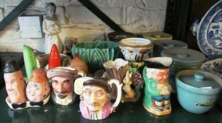 A Carlton Ware condiment, Beswick condiment Laurel and Hardy, SylvaC et cetera including Denby
