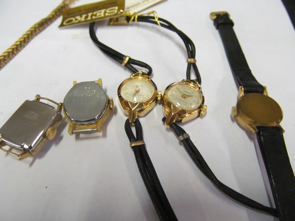 A ladies Nivada watch, Helmer watch no strap, another no strap, two Seiko watches, Enica watch 19.7g - Image 3 of 3
