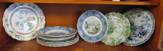 Various Victorian Imari and blue and white plates
