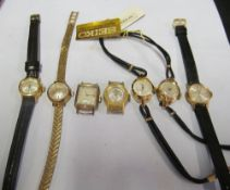 A ladies Nivada watch, Helmer watch no strap, another no strap, two Seiko watches, Enica watch 19.7g