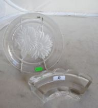A Lalique glass semi-circular dish with scalloped edge and a T. Yamamoto plate chrysanthemums