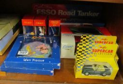 An Esso Road Tanker, two Maisto cars, Tetley Teafolk and Clangers etc (all boxed)