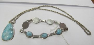 A 925 pendant on chain set turquoise coloured stone and a similar bracelet and pearl necklace