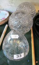 Three cut glass spherical light shades