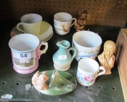 A fairing 'Hark that's mothers grunt' and various Victorian and other cups and saucers etc
