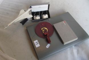 A Concorde pack with two sets of silver drink labels Port and Brandy, Whisky and Gin c1986 (both