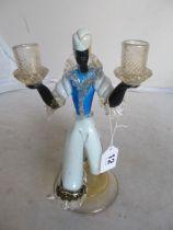 A Murano glass Moorish candlestick