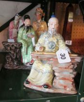 Four Japanese figures; Geisha and Emperor, man reading and man playing musical instrument (hand