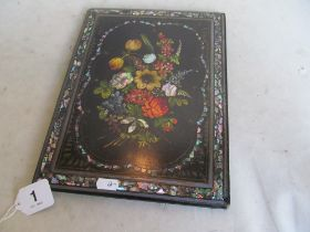 A Victorian papier-mache blotter inlaid mother of pearl and painted flowers