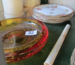 Four 19th Century plates and glass dish