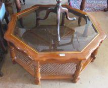 An octagonal coffee table