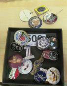 A James Corty pendant Queen with gas mask 'Hear no Evil' and various badges including a Noel