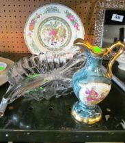 A Limoges jug, plate and some glass