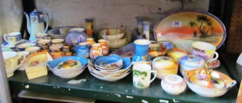 A collection of Noritake items including part coffee set, lidded boxes, dishes, small vases etc
