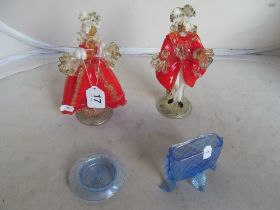A pair of Murano Venetian figures in red and two blue glass pieces