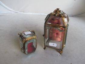 A 19th Century gilt and glass ring box in the form of an armoire (glass door a/f) and another