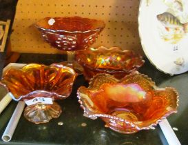 Four items Carnival glass