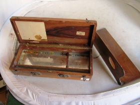 A set of scales and weights on ebonized and marble base and a LeFranc artists box