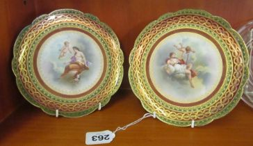 A pair of late 19th Century Vienna plates Juno and Chloris transfer printed with some handpainted
