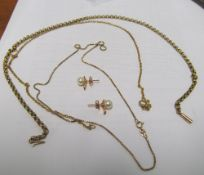 Two 9ct gold chains 11g, another chain and pair earrings
