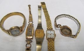 A Rotary watch, 9ct gold watch (not working) and three watches