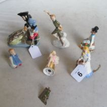 A Wade Collectors Club Peter Pan set; Peter Pan, Wendy, Michael, John and Captain Hook with